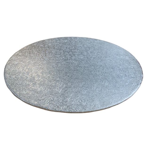 Round Single Thick Cake Card Silver - All Sizes