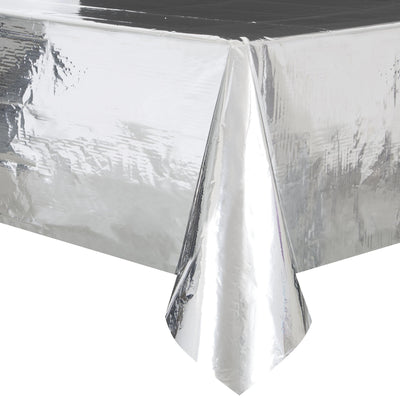 Metallic Silver Plastic Table Cover 1.37m x 2.74m