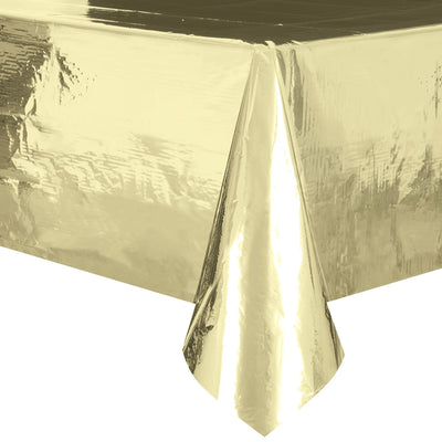 Metallic Gold Plastic Table Cover 1.37m x 2.74m