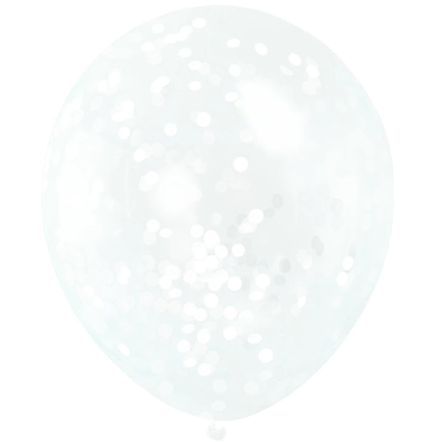 "White Confetti Balloons 12"" Latex (6 Pack)"