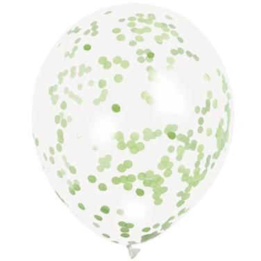 "Lime Green Confetti Balloons 12"" Latex (6 Pack)"