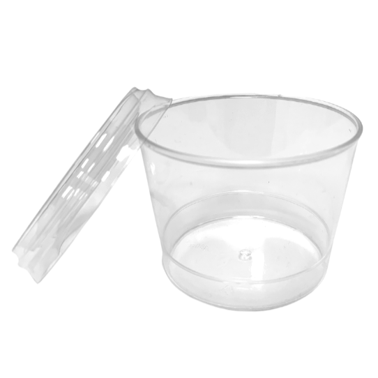 Plastic Round Dessert Cups & Lids Clear 180ml (30 Pack)