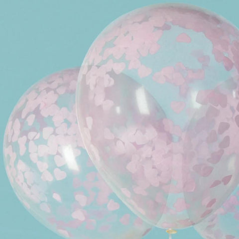 "Baby Pink HEART Confetti Balloons 16"" Latex (5 Pack)"