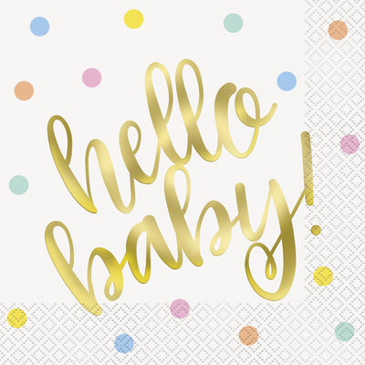 Hello Baby Square Paper Napkins 33cm (16 Pack)