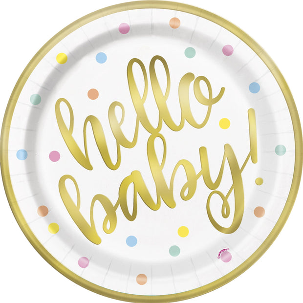 Hello Baby Paper Plates 23cm (8 Pack)