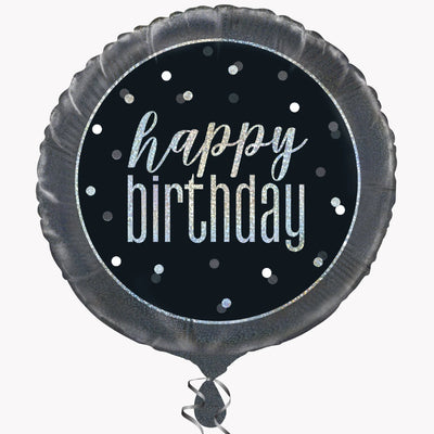 Happy Birthday Black & Silver Glitz Foil Balloon 18""