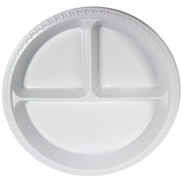 "White Plastic Plates 10"" 3 Compartment (50 Pack)"