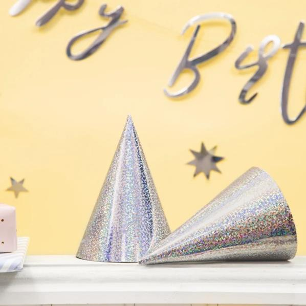 Holographic Silver Party Hats (6 Pack)