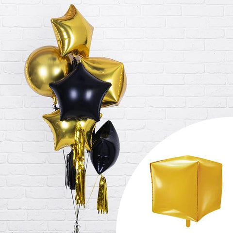 Gold Foil Balloon Square Cubic 14""