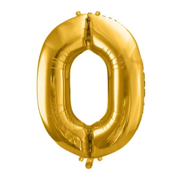 Gold Foil Number 0 Balloon 34""