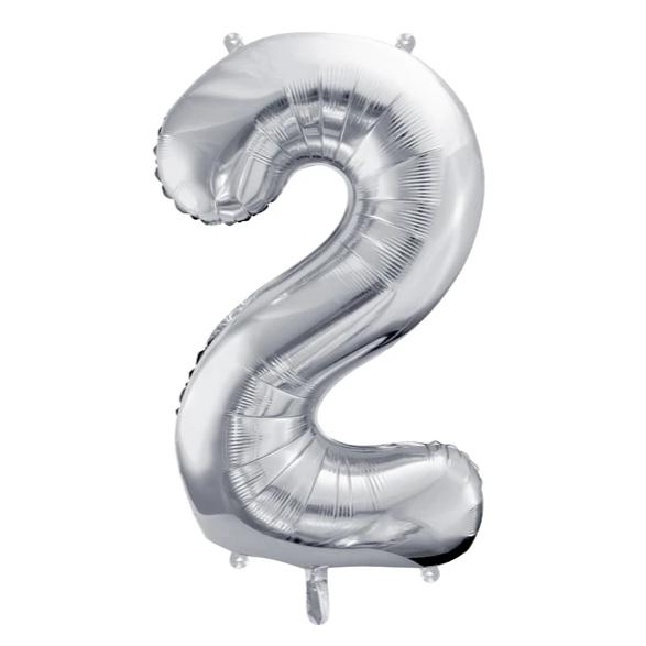 Silver Foil Number 2 Balloon 34""
