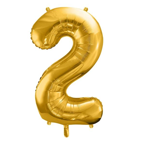 Gold Foil Number 2 Balloon 34""