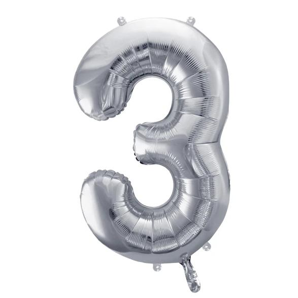 Silver Foil Number 3 Balloon 34""