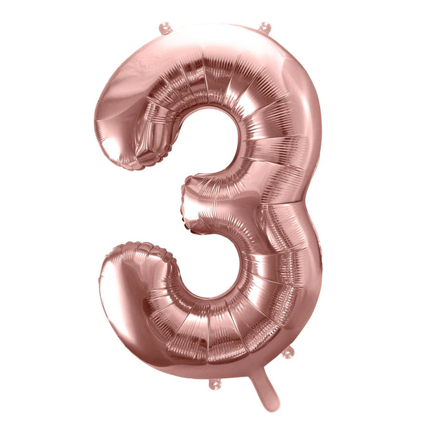 Rose Gold Foil Number 3 Balloon 34""