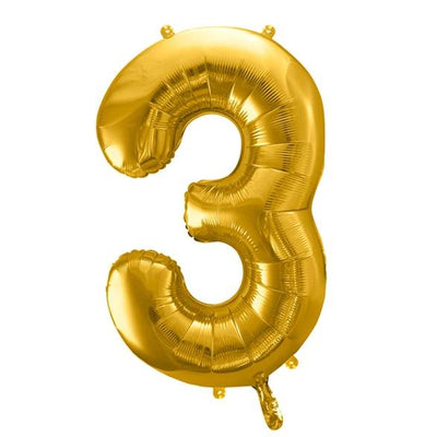 Gold Foil Number 3 Balloon 34""