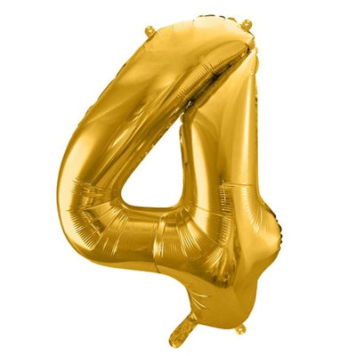 Gold Foil Number 4 Balloon 34""