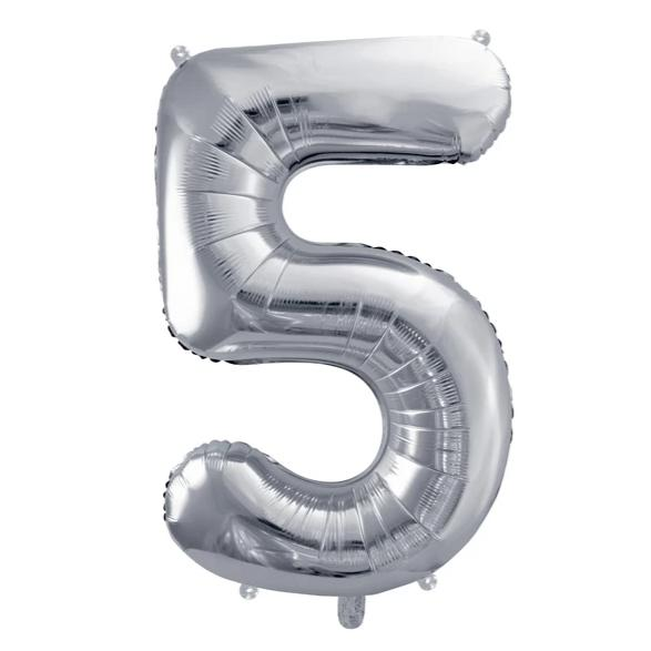 Silver Foil Number 5 Balloon 34""