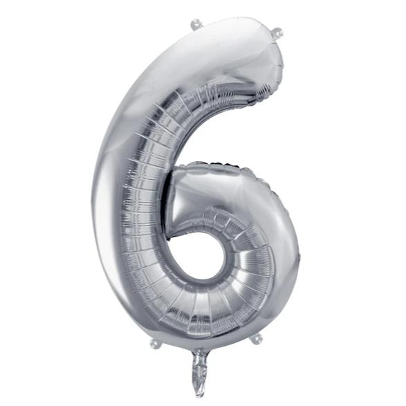 Silver Foil Number 6 Balloon 34""