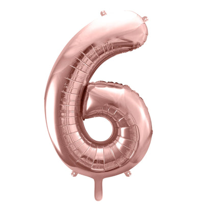 Rose Gold Foil Number 6 Balloon 34""