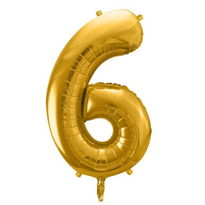 Gold Foil Number 6 Balloon 34""