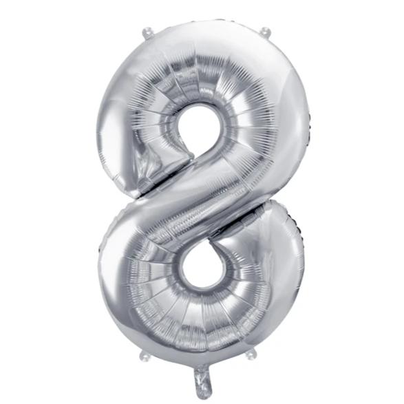 Silver Foil Number 8 Balloon 34""