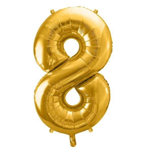 Gold Foil Number 8 Balloon 34""