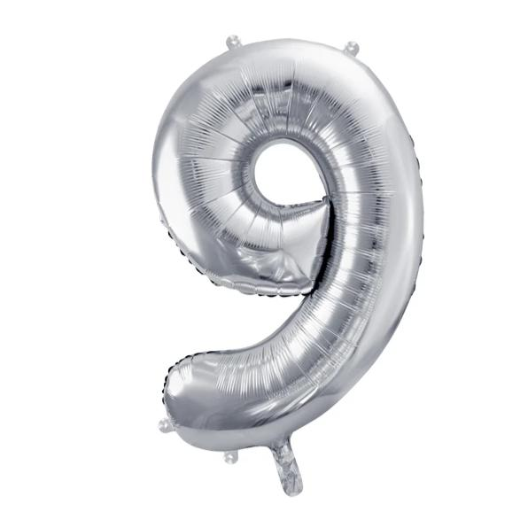 Silver Foil Number 9 Balloon 34""
