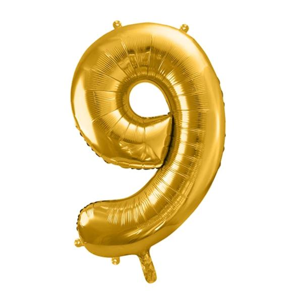Gold Foil Number 9 Balloon 34""