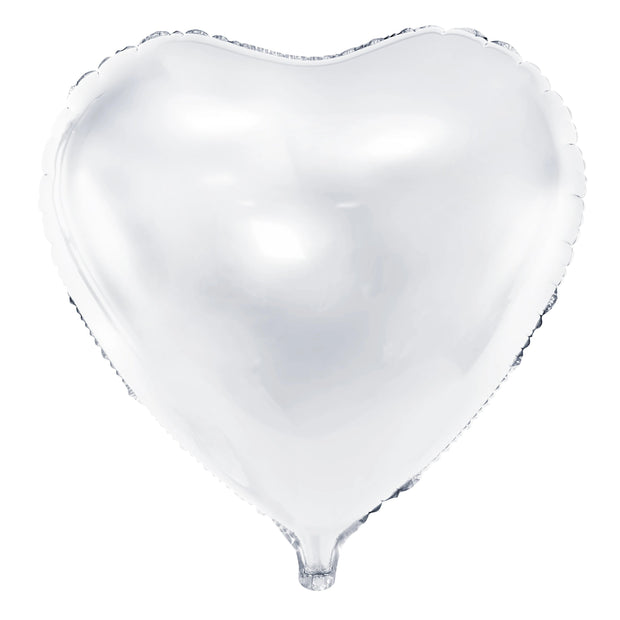 White Foil Heart Balloon 18""