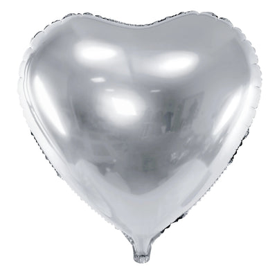 Silver Foil Heart Balloon 18""