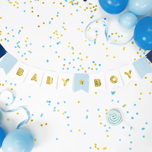 Blue & Gold Baby Boy Banner