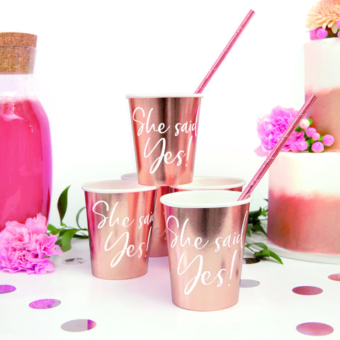 "Rose Gold ""She Said Yes!"" Paper Cups 220ml (6 Pack)"