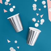 Metallic Silver Paper Cups 220ml (6 Pack)