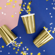 Metallic Gold Paper Cups 220ml (6 Pack)