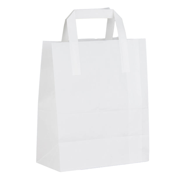 White SOS Paper Bags Flat Handle (25 Pack) - 3 Sizes Available