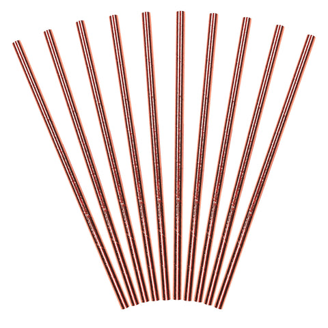 Rose Gold Paper Straws (10 Pack)