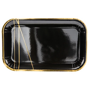 Black & Gold Rectangular Plates (6 Pack)