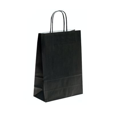 Black Paper Bags Twisted Handle (25 Pack) - 4 Sizes Available