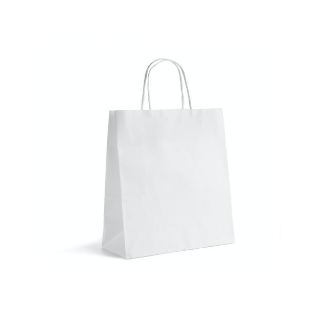 White Paper Bags Twisted Handle (25 Pack) - 4 Sizes Available