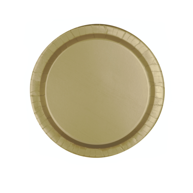 Gold Paper Plates 18cm (8 Pack)