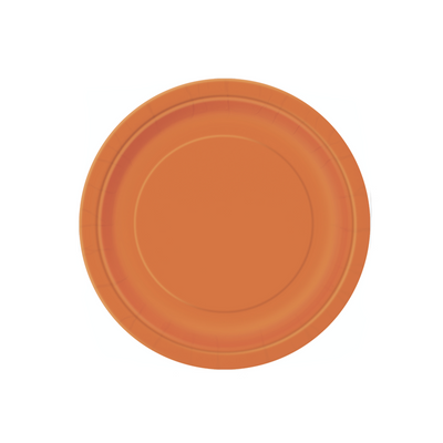 Orange Paper Plates 18cm (8 Pack)