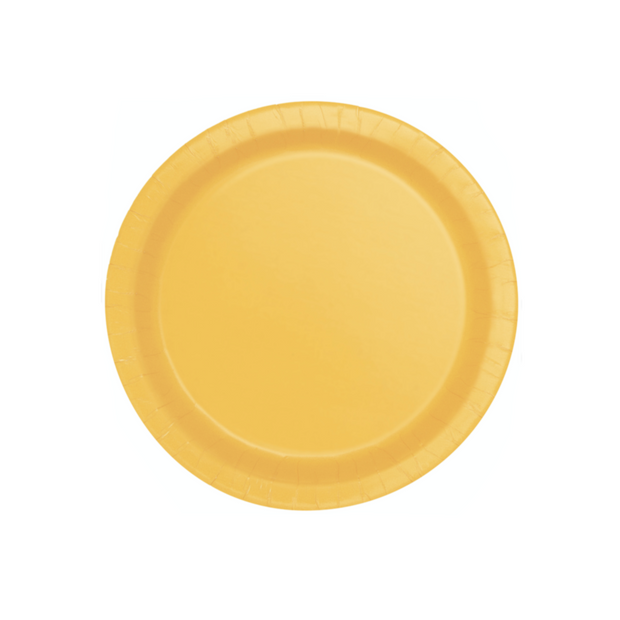 Yellow Paper Plates 18cm (8 Pack)