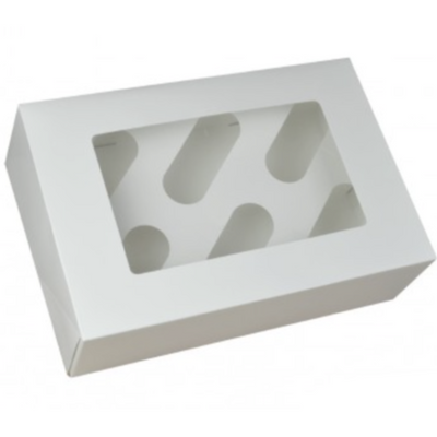 White Cupcake Box With Window (Holds 6)