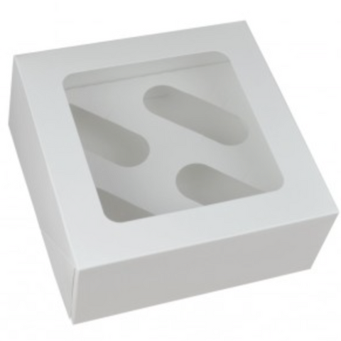 White Cupcake Boxes With Window (Holds 4, 6 & 12)