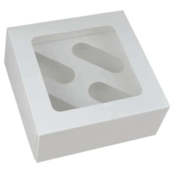 White Cupcake Box With Window (Holds 4)