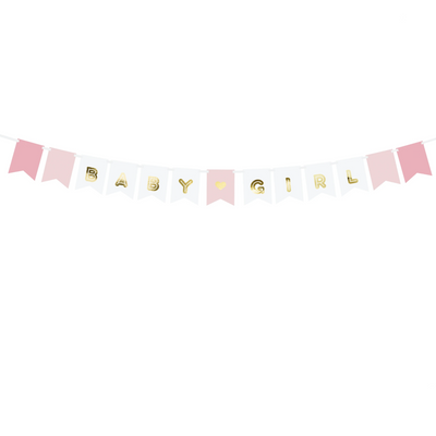 Pink & Gold Baby Girl Banner