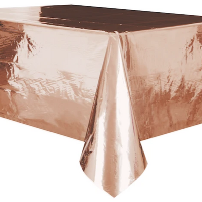 Rose Gold Plastic Table Cover 1.37m x 2.74m