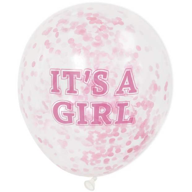 "GIRL Pink Confetti Balloons 12"" Latex (6 Pack)"