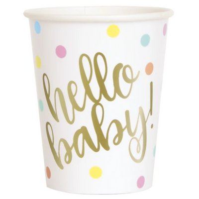 Hello Baby Paper Cups (8 Pack)