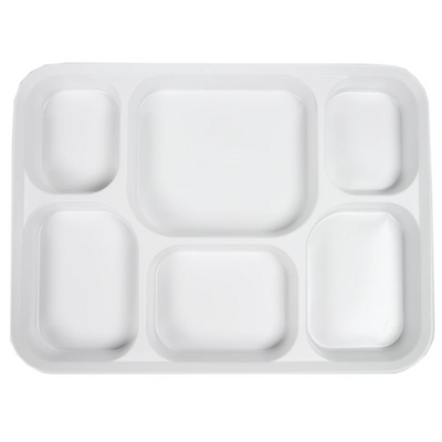 White Plastic Plates 6 Compartment (25 Pack)